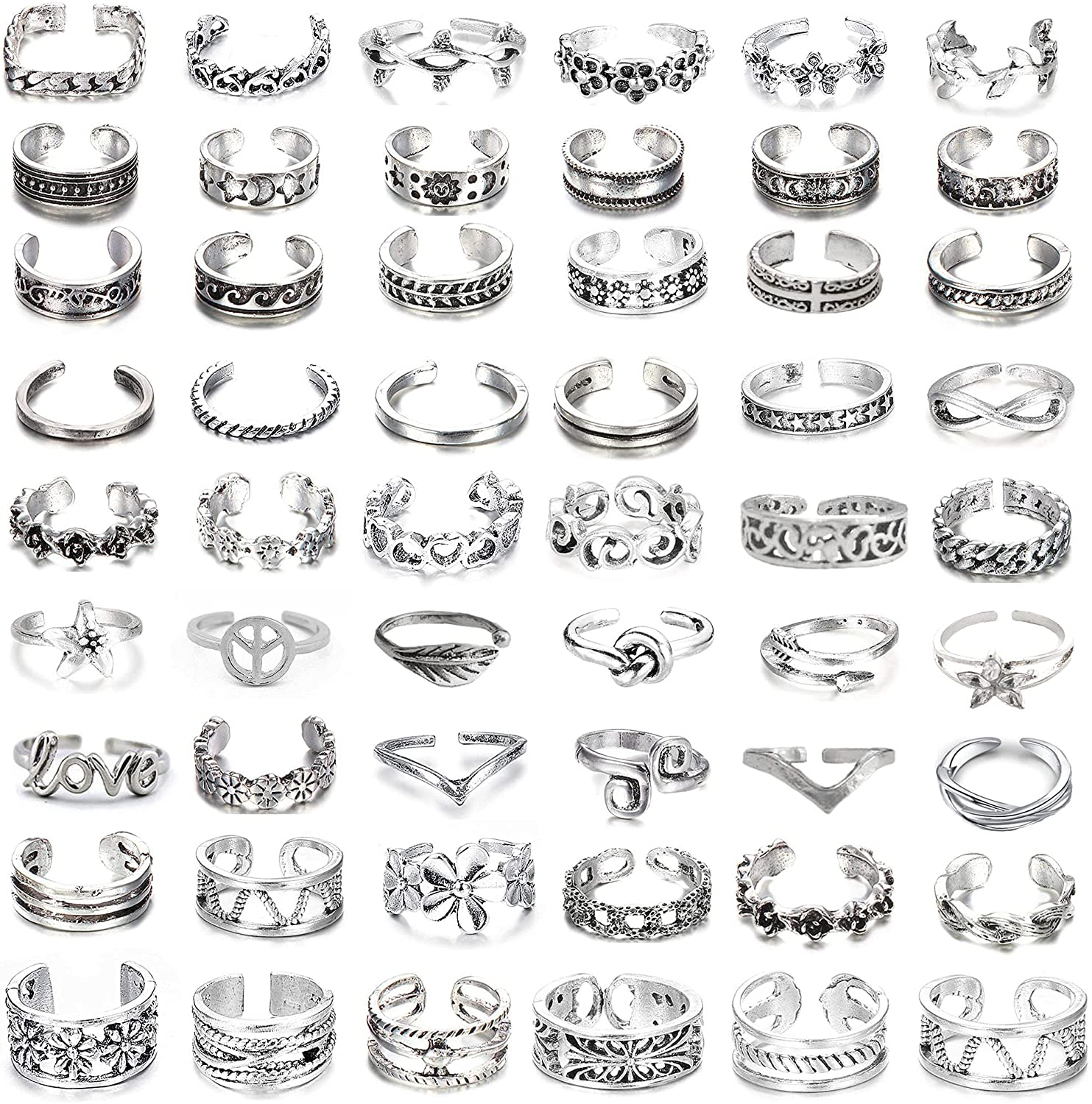 54Pcs Open Toe Rings Set for Women Men Adjustable Vintage Retro Knuckle Ring Toe Finger Tail Ring Beach Foot Jewelry