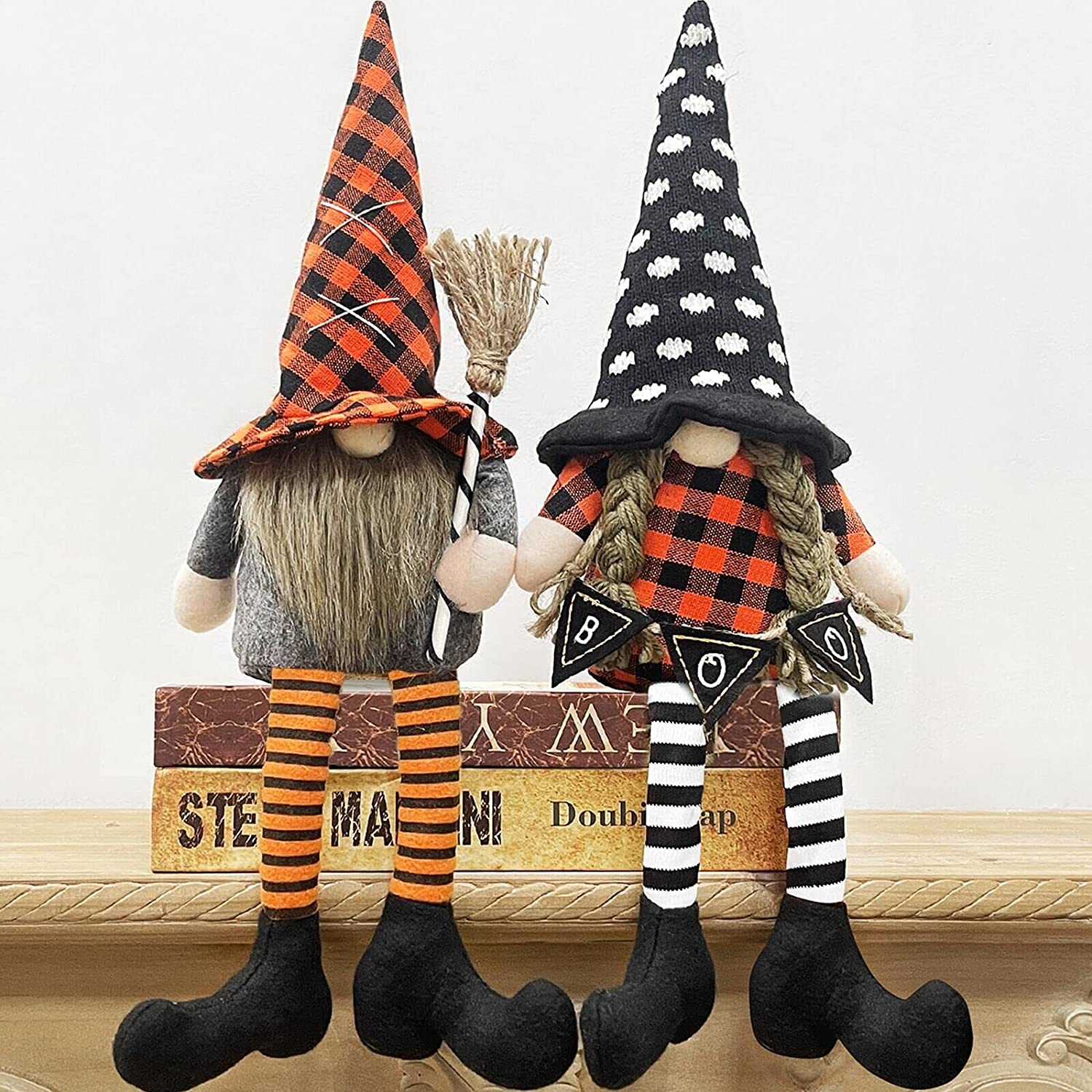 TURNMEON 2 Pcs Plush Witch Gnomes Halloween Centerpiece Decorations,Halloween Gnomes Decorations Doll Elf Scandinavian Halloween Party Ornaments Home Decor, Toys for Kids Adults