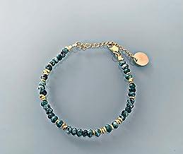 Ornamento di gioielli creoli e perline di giada e braccialetto d'oro, braccialetto di perline, idea regalo femminile, gioi...
