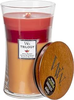 WoodWick Trilogy Autumn Harvest - Apple Basket, Spiced BlackBerry, Pumpkin Butter Scented Crackling Wooden Wick Hourglass ...