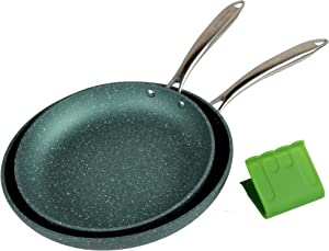 WaxonWare Emerald Series Induction Nonstick Frying Pan Set PFOA Free, Green, 9.5 & 11 Inch Non Stick Skillets, Metal Utensil Safe