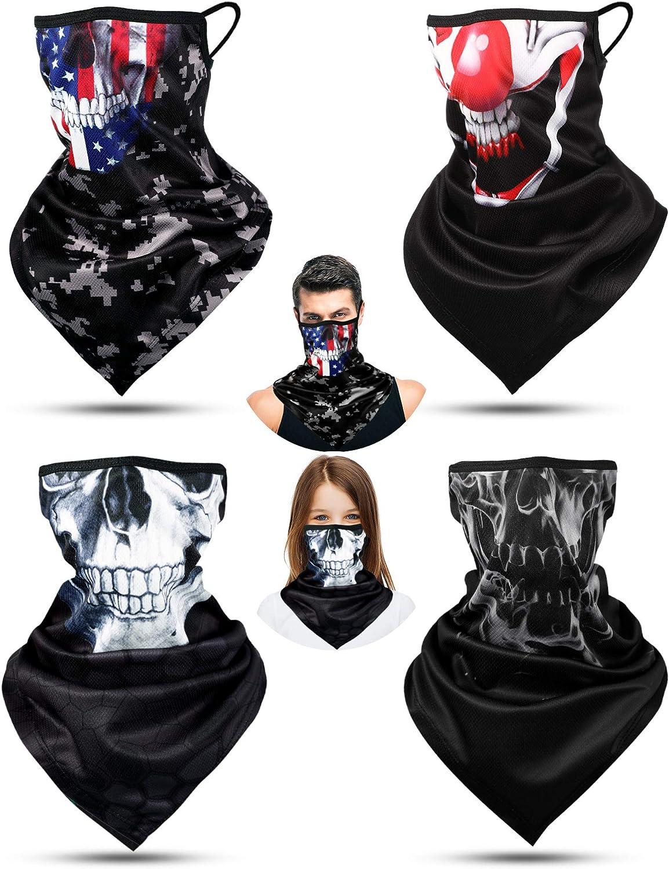 4 Pieces EarLoops Headwear Bandana Halloween Skeleton Face Cover Balaclava Scarf Neck Gaiters