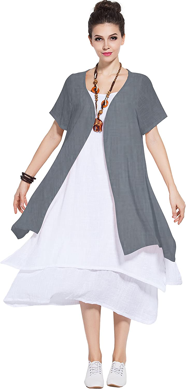 Anysize Soft Linen Cotton TwoPiece Dress Spring Summer Plus Size Dress Y96