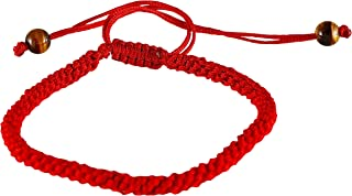 Handmade Kabbalah Red String Bracelet with 2 Tiger Eye Bead- Good for Prosperity and Success