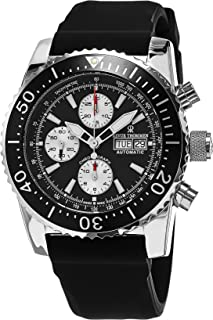 Revue Thommen Automatic Diving Watch Chronograph For Men - Stainless Steel 45mm Analog Black face Sapphire Crystal Day Date Watch - Waterproof Black Rubber Band Swiss Made Mens Diver Watch 17030.6537