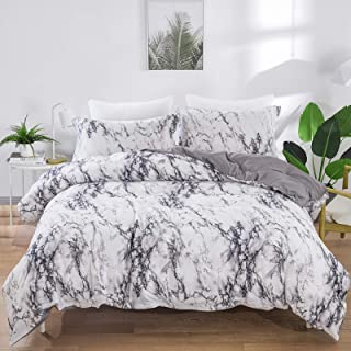 Marble Comforter Set Queen White Gray Marble Printed Bedding Solid Comforter Set for All Seasons, 3 Pieces(1 Comforter+2 P...