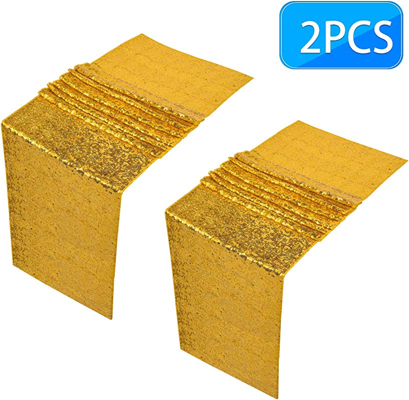 Awpeye Gold Sequin Table Runner 2PCS 12 X 72Inch Long Satin Glitter Table Linen For Wedding Party D Cor