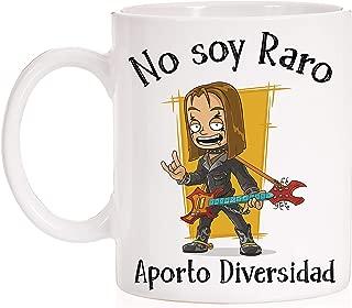 FUNNY CUP Taza No Soy Raro Aporto Diversidad. Taza para Heavy Metal, Rockeros, Rock. (Modelo 2)
