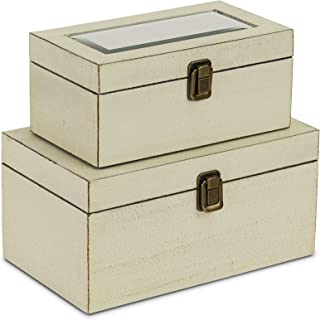 Cheung's FP-3993-2W Wooden Treasure Box with Beveled Mirror  Set of 2  White
