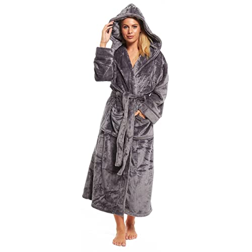 Ladies Fleece Dressing Gown Long Length Luxury Hooded Snuggle Winter  Housecoat Robe Grey Berry Taupe Size 857602283