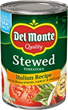 Del Monte Canned Stewed Tomatoes Italian Recipe with the flavors of Basil, Garlic and Oregano, 14.5 Ounce (Pack of 12)