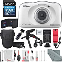 Photo Savings Nikon COOLPIX W100 Digital Camera (White) Deluxe Bundle with Xpix Cleaning Accessories + Floating Strap + 32 GB +Tripod + Reader + Battery & Charger + Case