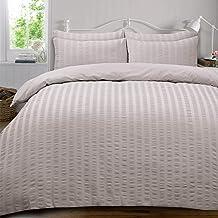 Highams Seersucker Duvet Cover with Pillow Case Bedding Set, Silver Grey - Double
