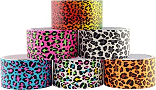 6 Roll Variety Pack of Decorative Duct Style Tape, Leopard Tape, Each Roll 1.88 Inch x 5 Yards, Ideal for Scrapbooking - Decorating - Signage (6-Pack, Leopard)