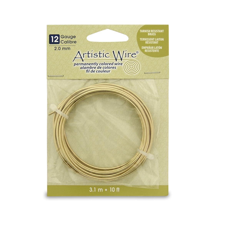 Artistic Wire 12 Gauge Wire, Tarn Resist Brass, 10-Feet