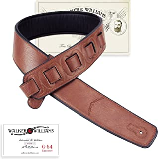 Walker & Williams G-54 Chestnut Brown Guitar Strap with Padded Glove Leather Back