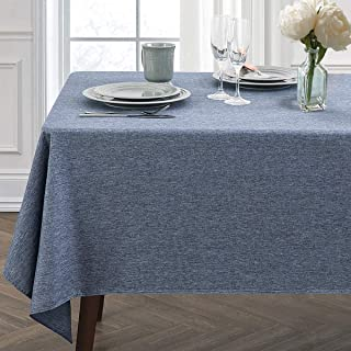 JUCFHY Rectangle Table Cloth,Linen Farmhouse Tablecloth Heavy Duty Fabric,Stain Proof,Water Resistant Washable Table Cloths,Decorative Oblong Table Cover for Kitchen,Holiday(60x104 Inch,Navy Blue)