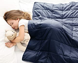 Love's cabin Weighted Blanket 10 lbs for Kids (41''x60'', Navy) 100% Organic Cotton Toddler Weighted Blanket with Glass Beads, Extra Soft Heavy Blanket (Anti-Dirty,Anti-mite,Incredible Touch)