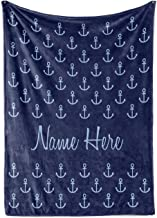 Personalized Fleece Blanket - Custom Throw Blankets for Adults Men Women Kids - Nautical Theme Navy Blue Anchor (Adult 60