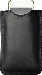 Astuccio porta e proteggi smartphone custodia in vera pelle pregiata e riciclata tinta unita Col. Nero fatto a mano in Ita...