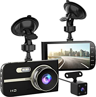 Full HD 1080P Dash Cam Front and Rear 290 Degree Super Wide Angle Car Camera Recorder 4.0 Screen Dash Camera for Cars with G-Sensor Motion Detection Parking Mode etc