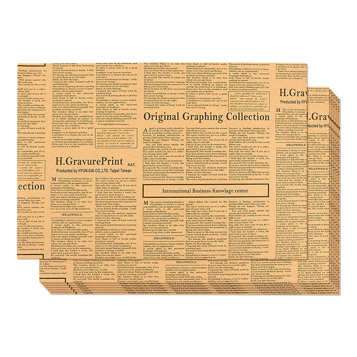 Kraft Paper Roll - 12-Pack Packing Paper, Newspaper Theme Brown Kraft Paper Roll, Brown Wrapping Paper, 27.75 x 19.75 Inches xrick22915519149