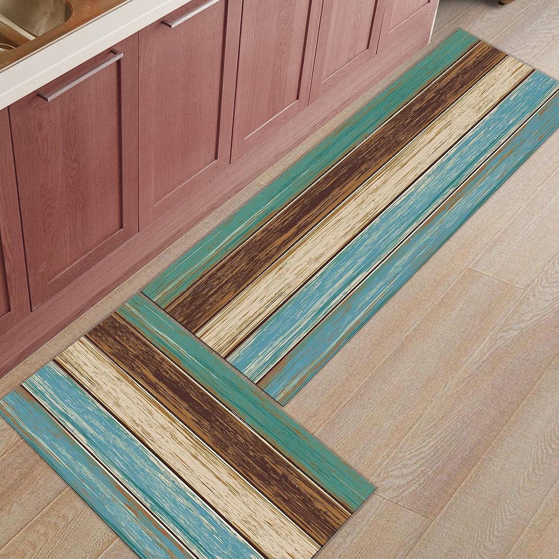Findamy 2-Piece Non-Slip Indoor Door Mat Kitchen Rug Rectangle Absorbent Moisture Floor Carpet for Wood Grain Pattern Doormat 19.7x31.5In+19.7x47.2In