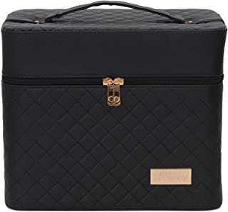 Store2508® Professional Beauty Make Up Case Nail Cosmetic Box Vanity Case (28 * 23 * 19 Cm) (Black)
