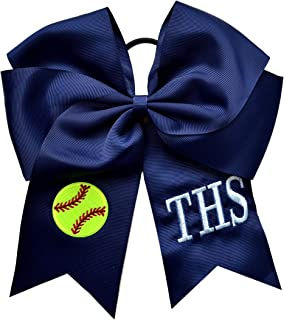 Softball Hair Bow EMBROIDERED and Personalized with Custom INITIALS of your choice - 7.5 Inches Long!