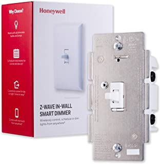 Honeywell Z-Wave Plus Smart Light Dimmer Switch, In-Wall Toggle | Built-In Repeater Range Extender | Requires Neutral Wire | ZWave Hub Required - SmartThings, Wink, Alexa Compatible, 39357
