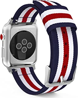 MoKo Compatible Band Replacement for Apple Watch 38mm 40mm Series 5/4/3/2/1, Fine Woven Nylon Adjustable Replacement Wristband Strap - Blue & White & Red (Not fit 42mm 44mm Versions)