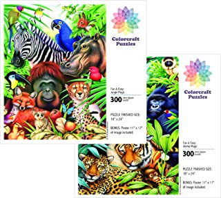 Jigsaw Puzzle Value Set: Animal Magic and Jungle Magic - 2 X 300 Pieces. Made in USA