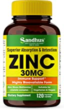 Zinc 30 mg -Zinc Methionine Highly Absorbable BioAvailable Antioxidant Immune Support Daily Vitamin Supplement for Men & W...