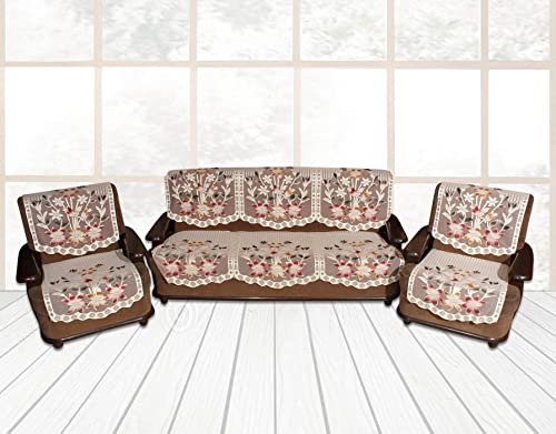 Yellow Weaves Floral 5 Seater Sofa Cover Set Set of 6 Pieces Color Off White