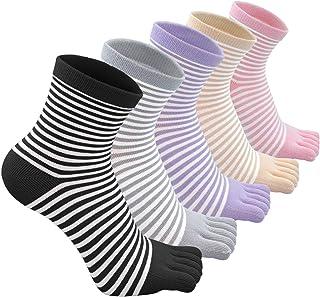 CaiDieNu, Calcetines con Cinco dedos para Mujer, Calcetines de Deportes de Algodón, 4/5 pares