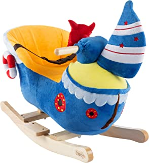 Happy Trails Boat Rocker Toy-Kids Ride On Soft Fabric Covered Wooden Rocking Ship-Neutral Design for Any Nursery-Fun for Toddler Boys and Girls