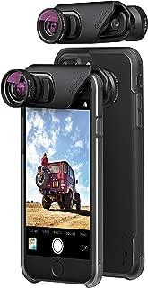 olloclip — CORE Lens Set + OLLO CASE Combo for iPhone 8/8 Plus & iPhone 7/7 Plus — Includes 2 iPhone Cases + Super-Wide, FISHEYE & Macro Premium Glass Lenses — Lens: Black/Black, Cases: Clear