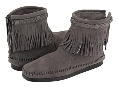 Minnetonka Hi-Top Back Zip Boot (Medium Grey) Women