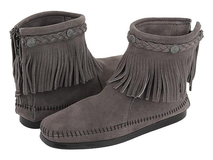 Vintage Boots, Granny Boots, Retro Boots Minnetonka Hi-Top Back Zip Boot Medium Grey Womens Zip Boots $59.95 AT vintagedancer.com