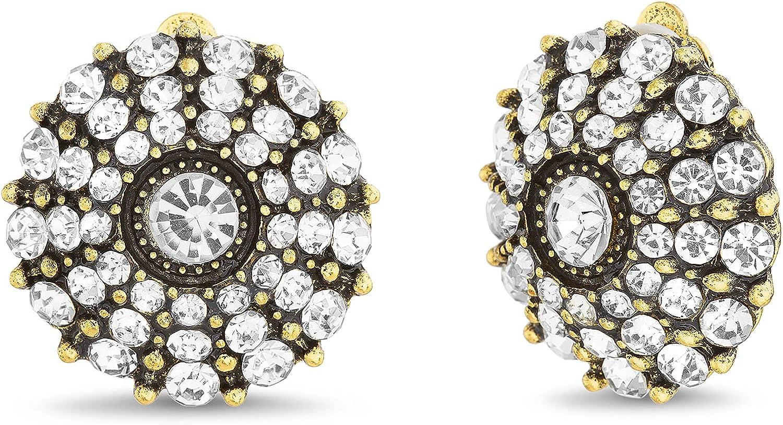 Badgley Mischka Antiqued Finish Round Rhinestone Clip On Stud Earrings for Women