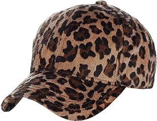C.C Faux Calf Hair Feel Leopard Print Adjustable Baseball Cap Hat