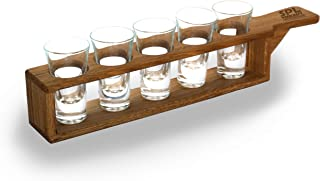 Shot Glass Set in Unique Stylish Cherry-Tree Wooden Holder - 1,7 Ounce (50ml) Glasses - Glassware and Shot Stand - Profess...