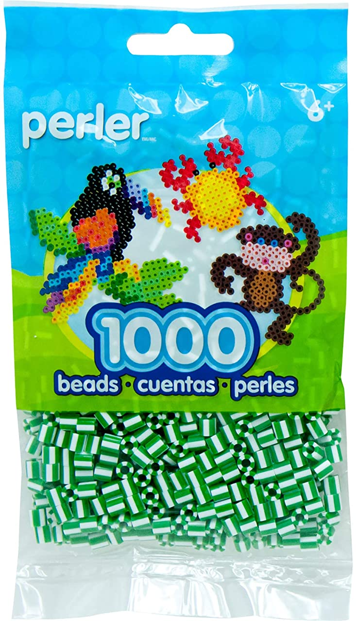 Perler Beads Fuse Beads for Crafts, 1000pcs, Striped Green and White