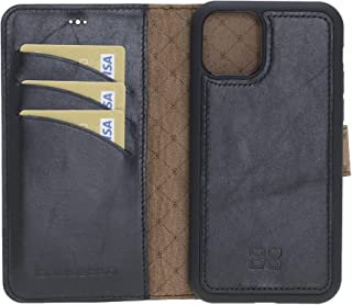 Bouletta Handmade Genuine Leather Protective Magnetic Detachable Wallet Phone Case with RFID Protection for Apple iPhone 11 (XI) Pro Max 6.5'' (Black)