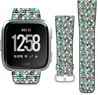 Compatible with Fitbit Versa, Versa 2, Versa Lite, Leather Replacement Bracelet Strap Wristband with Quick Release Pins // Sphere Seventies Mod