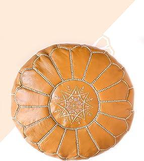 Kechart - Puf Marroquí Limón cognac de cuero auténtico - Hecho a mano - Entregado con relleno - Otomano, cojin de suelo -
