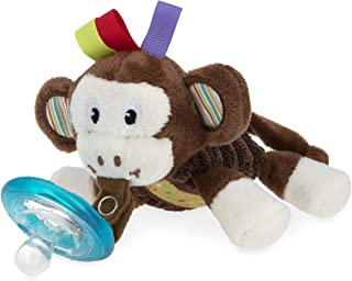 Nuby Calming Natural Flex Snuggleez Pacifier with Plush Combo Set for Cuddling with Comfort, 0M+, Monkey