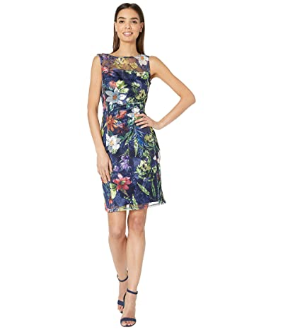 Tahari by ASL Sleeveless Embroidered Mesh Floral Dress (Boho Rapsody Navy) Women