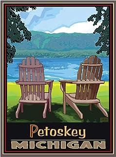 "Petoskey, Michigan Adirondack Chairs Lake Giclee Art Print Poster from Alla Prima Painting by Artist Joanne Kollman 9"" x 12"""