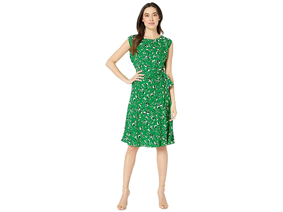 LAUREN Ralph Lauren Petite Floral Georgette Dress (Cambridge Green Multi) Women